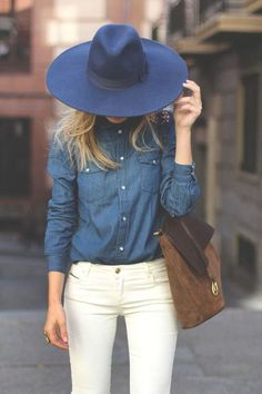 Navy Wool Hat + Navy Denim Shirt + Brown Suede Tote Bag + White Skinny Jeans