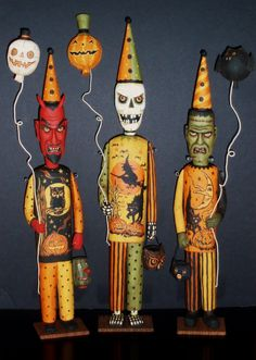 Party Monsters.  Halloween wood carvings by Greg Guedel.