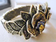 Heidi Daus Bangle Bracelet Multi Colors Crystal Hinged Opens, $119.5