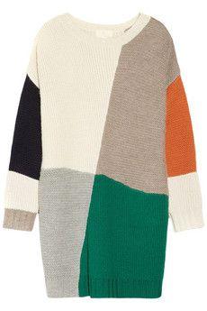 ++ blanket color block alpaca sweater