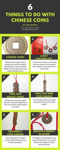 Feng Shui Coin Infographic. Feng Shui Coins, Chinese Coins and Feng Shui money cures. http://www.yourfengshuistore.com/Coins_c_7.html
