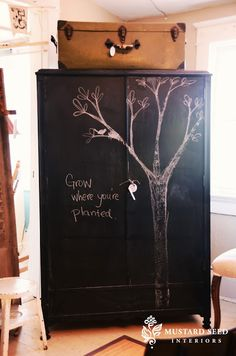 chalkboard armoire & princess dresser - Miss Mustard Seed Black Chalkboard, Chalkboard Paint, Chalkboard Dresser, Chalkboard Drawings, Chalkboard Lettering, Chalk It Up, Chalk Art, Armoire Dresser, Dressers