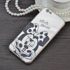 Mirror case Style Cute Sweet Mickey Minnie Mouse TPU Mobile Phone Cases Cover For iPhone 5 5G 5S SE 6 6G 6S 4.7 6Plus 5.5 Inch