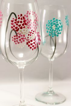 Modern flowers hand painted wine glasses set of 2 by RaeSmith