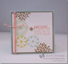 A quick thank you card using free items from Sale-a-Bration: Petal Parade stamps & Sweet Sorbet accessories pack (twine & cork stickers) - from www.nwstamper.com