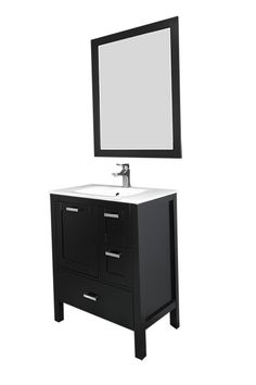 """Siena 30"""", espresso with solid doors and glass sink."""