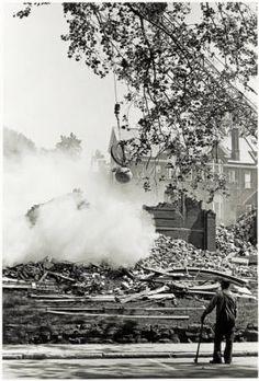 Women's Gymnasium demolition, 1966. Demolished to make way for Alden Library. :: Ohio University Archives