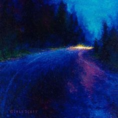 By Iris Scott | oil on canvas | finger painting | originals and prints | www.IrisScottFineArt.com | The early evening pavement of the highway is illuminated cobalt blue by the twilight sky. Headlights are seen driving out of the trees in the distance.