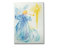 Angel Star Watercolor Christmas Card Set by SusanWindsor on Etsy