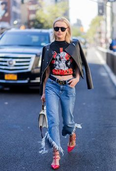 NYFW: The Best Street-Style Moments from the Spring 2017 Shows Black leather jacket + graphic tee + jeans + red kitten heels Street style, street fashion, best street style, OOTD, OOTD Inspo, street style stalking, outfit ideas, what to wear now, Fashion Bloggers, Style, Seasonal Style, Outfit Inspiration, Trends, Looks, Outfits.
