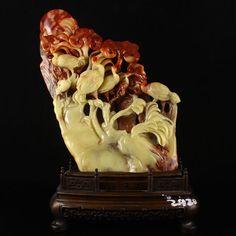 Hand Carved Chinese Natural Shoushan Stone Statue w Crane & Ruyi/Lingzhi