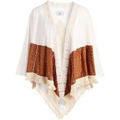 Judith March Cream & Tan Crochet-Accent Fringe-Trim Open Cardigan (€28) ❤ liked on Polyvore featuring tops, cardigans, crochet tops, crochet open cardigan, crochet open front cardigan, long tan cardigan and tan cardigan
