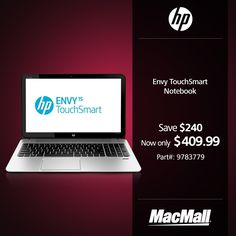 #BackToSchool Sale: Save $240 on an #HP Envy TouchSmart notebook at MacMall.