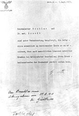 A letter signed by Adolf Hitler authorizing Aktion T-4 (Euthanasia Program).  In 1939, the Nazis created a program to secretly but systematically kill mentally and physically disabled people, including Germans, who were housed in institutions. The code name for this program was Aktion T-4. It is estimated that over 200,000 people were killed in the Nazi Euthanasia Program.