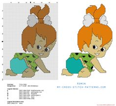 Pebbles Flintstone Flintstones infant daughter cross stitch pattern
