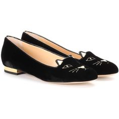 Charlotte Olympia Kitty Flat Velvet Ballerinas (1.252.830 COP) ❤ liked on Polyvore featuring shoes, flats, black, ballet flat shoes, black velvet flats, ballerina shoes, black velvet shoes and black flats