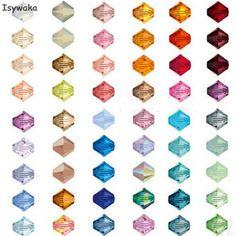 Isywaka U Choice 100pcs 4mm Bicone Austria Crystal Beads charm Glass Beads Loose Spacer Bead for DIY Jewelry Making  Price: 0.61 USD