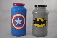 Super Hero Piggy Banks - Super Hero Jars - Avengers Bank - Marvel Comics Bank - DC Comics Bank - Super Hero Gift - Super Hero Mason Jar by CrazyCraftersFun on Etsy