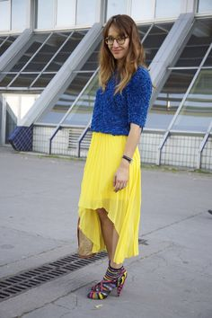 I recently bought bright yellow pleated maxi skirt in the sample sale at work, and was struggling with inspiration of how to wear it, this is it! Thank-you Prada x