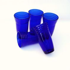 Vintage Cobalt Glass Tumblers Blue Glasses Retro by WhimzyThyme