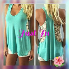 Beautiful women's tank top 💕 New Fashion Womens Ladies Summer Vest Top Sleeveless Blouse Casual Tank Tops Lace T-Shirt Lack Blue Reasonable offers accepted 🌺 Tops Tank Tops