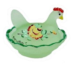 Limelight Satin Green Glass Chick Salt Dip or Cellar with hand painted Roses. Pretty little Covered Hen on a Nest, Ideal Chicken Pin Dish.
