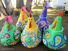 chickens gourd art paisley painted gourds by SuzysSitcomStore