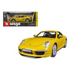 Porsche 911 (997) Carrera S Yellow 1/24 Diecast Car Model by Bburago