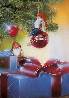Gnomes under the Christmas Tree Christmas Gnome, Christmas Art, Beautiful Christmas, Christmas Bulbs, Christmas Holiday, Vintage Christmas Images, Christmas Pictures, Winter Pictures, Scandinavian Gnomes