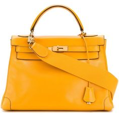 Pre-owned Hermès Vintage 'Kelly' tote (29.620 BRL) ❤ liked on Polyvore featuring bags, handbags, tote bags, hermes, yellow, yellow leather tote, orange tote, tote handbags, leather handbags and leather tote purse