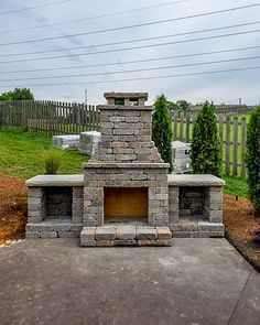 """Built this fireplace and firewood boxes in a weekend. Couldn't be more happy with the finished product. To me, it was like an adult version of Legos"" - Happy Customer Outdoor Fireplace Patio, Outside Fireplace, Outdoor Fireplace Designs, Outdoor Fireplaces, Brick Fireplace, Backyard Projects, Backyard Patio, Backyard Landscaping, Outdoor Rooms"
