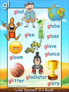 gl words Phonics Sound Poster - FREE & PRINTABLE - For Auditory Discrimination, Exploring Letter Sounds, Literacy Groups or as a Phonics Word Wall Poster. Phonics For Kids, Phonics Reading, Teaching Phonics, Teaching Kids, Kids Learning, Phonics Chart, Phonics Blends, Phonics Worksheets, English Phonics