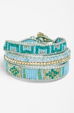 Boho-chic beaded wrap bracelet.