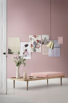 Pantone Colour (s) of the year 2016 - Rose Quartz & Serenity \ Home Decor Scandinavian Design, Murs Roses, Deco Pastel, Deco Rose, Living Room Color Schemes, Colour Schemes, Minimalist Furniture, Pink Walls, Wall Colors
