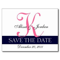Shop Modern Save the Date Navy Blue Pink Monogram Announcement Postcard created by monogramgallery. Save The Date Invitations, Save The Date Postcards, Save The Date Cards, Invites, Pink Save The Dates, Modern Save The Dates, Wedding Color Schemes, Wedding Colors, Simple Wedding Cards