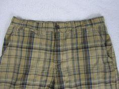 Tommy Hilfiger Mens Shorts Cotton Tan Multi-Color Plaid Service Surplus Size 34  #TommyHilfiger #CasualShorts