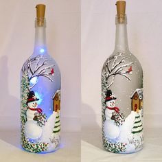 This Snowman Painted Wine Bottle Painted Bottle Lamp is just one of the custom, handmade pieces you'll find in our accent lamps shops. Liquor Bottle Crafts, Wine Bottle Art, Painted Wine Bottles, Lighted Wine Bottles, Painted Wine Glasses, Bottle Lights, Bottle Bottle, Decorated Bottles, Bottle Labels