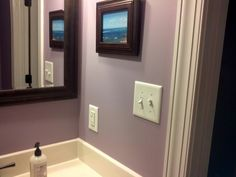 Ash Violet by Sherwin Williams. (This is the color of my bedroom and it came out… Home Decor Colors, Interior Paint Colors, Wall Colors, House Colors, Purple Bathrooms, Purple Rooms, Bathroom Renos, Laundry In Bathroom, Grey Purple Paint