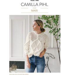 Strikkeoppskrift: Camilla Pihls Mari-genser   ELLE Norge Drops Karisma, Drops Alpaca, Drops Baby, Cable Sweater, Neck Pattern, Pullover, Winter Looks, Knitting Patterns Free, Camilla