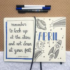Only a few days late decided on a space theme for April and a lovely quote from Steven Hawking ♥️ ▫️ ▪️ ▫️ ▪️ #bizzyb10doodles #bulletjournal #bullet #journal #bujo #drawing #doodle #doodles #leuchtturm1917 #tombow #2018 #april #month #monthlytheme #monthly #theme #space #planets #stars #colour #blue #colourtheme #stevenhawking