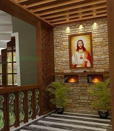 Prayer Corner, Prayer Wall, Prayer Room, Home Altar Catholic, Altar Design, Pooja Room Design, Kerala Houses, Altar Decorations, Pooja Rooms