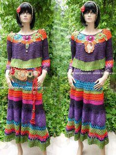 Frida Kahlo style crochet dress, colorful, Slow fashion, folk dress , Exclusive dress Frida Kahlo style crochet dress colorful Slow by dorisdARTcrochet Gilet Crochet, Crochet Blouse, Crochet Top, Free Crochet, Crochet Two Piece, Moda Crochet, Bohemian Mode, Black Crochet Dress, Folk Fashion