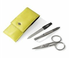 3 piece Stainless Steel Manicure Set in Lime Leather Case. Made in Solingen, Germany by Timor. $21.56. Solingen, Germany. Material: Stainless SteelFinish: Brush-finished# of pieces: 3Case InformationColor: LimeMaterial: LeatherWidth: 1.97 inchLength: 3.94 inch. Save 20% Off!