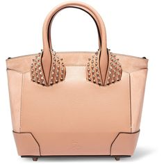 Christian Louboutin Eloise small spiked textured-leather and nubuck... ($1,750) ❤ liked on Polyvore featuring bags, handbags, tote bags, pink, zip tote, tote handbags, tote bag purse, zipper purse and red tote purse