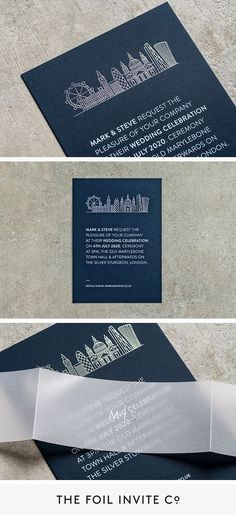 London Wedding Ideas – City Skyline Wedding Invitations by The Foil Invite Company | If you're having a city wedding, celebrate the urban location with an iconic skyline featuring your favourite buildings. We'll create a bespoke illustration of any city in the world and foil print it by hand. #WeddingIdeas #Silver #Foil #WeddingInvitations Luxury Wedding Invitations, Wedding Invitation Design, London Skyline, London Wedding, Celebrity Weddings, Weddingideas, Bespoke, Invite, Buildings