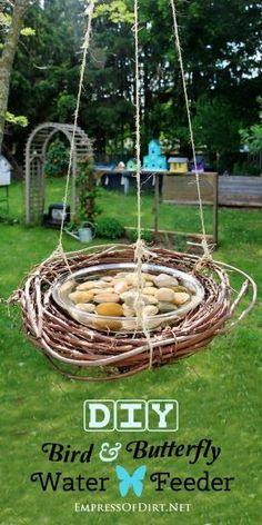 DIY bird butterfly water feeder by beth