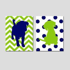 Cute backgrounds for solid images over Puppy Dog Duo - Set of Two 8x10 Prints - Kids Wall Art for Nursery - Chevron and Polka Dots - Choose Your Colors