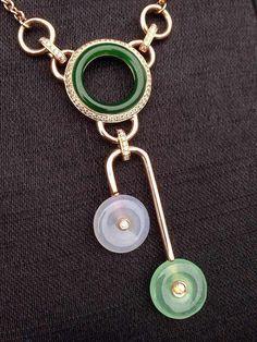 【迎玉轩】漂亮的个性翡翠镶嵌项链,很少见的,刚出炉!