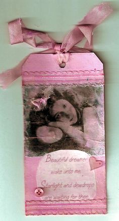 Photo transfer embellished tag created for a swap.