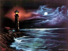 Peaceful Landscape Paintings by Bob Ross  - Bob Ross Paintings : Light House At Night  4